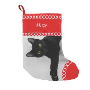 Cat Christmas Stocking Pet Stocking Holiday Stockings Silver Gray Fish Christmas Stocking personalized custom names or monogram