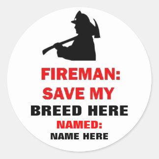Custom Pet Fire Safety Classic Round Sticker