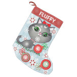 Custom Pet Grey Kitty Cat Christmas Stocking