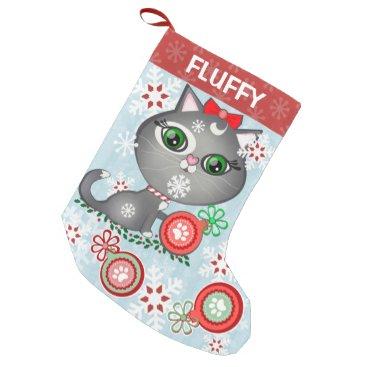 Christmas Themed Custom Pet Grey Kitty Cat Christmas Stocking