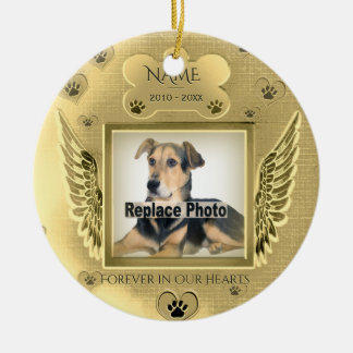 Custom Pet Memorial Gold Hearts Ceramic Ornament