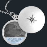 "Custom Pet Memorial Photo Keepsake Locket | Blue<br><div class=""desc"">Personalized pet memorial photo necklace is a keepsake for animal lovers and ready for you to create your own pet memorial photo gift. For pet owners who bereave the loss of a family pet and friend going over the rainbow bridge, it reads Always in My Heart in black, handwritten look...</div>"