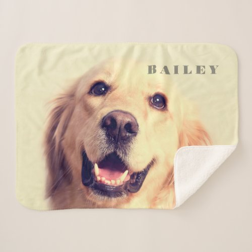 Custom Pet Name Typography and Photo Sherpa Blanket