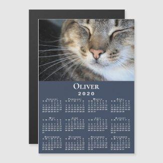 Custom Pet Photo and Name 2020 Calendar on Blue