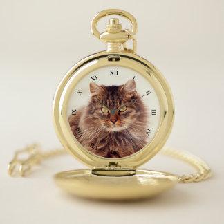 Custom Pet Photo & Black Roman Numerals Pocket Watch