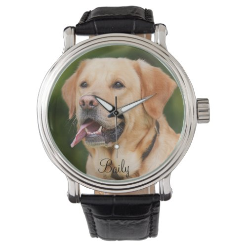 Custom Pet Photo Dog Cat Personalized Name Watch