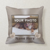 Custom Pet Portrait Pillow, Your PHOTO and NAME Throw Pillow