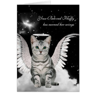 Custom Pet Sympathy Loss of a Cat Tabby Angel Card