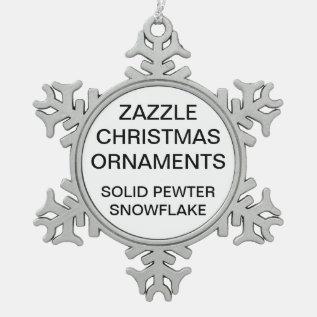 Custom Pewter Snowflake Christmas Tree Ornament at Zazzle