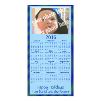 Custom Photo 2016 Calendar Holiday Card Blue