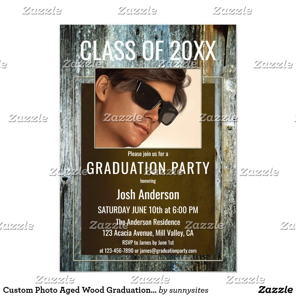 Custom Photo Aged Wood Graduation Party Invitation