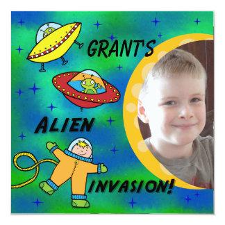 "Custom Photo Alien Invasion Birthday Invitation 5.25"" Square Invitation Card"