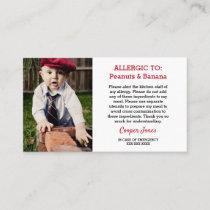 Custom Photo Allergy Alert Restaurant Emergency Calling Card