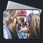 """Custom Photo and Brush Script Monogram Computer Sleeve<br><div class=""""desc"""">This piece is a personalized, modern, and self-customized design. It features a photo which the customer replaces with their own photograph and brush script initials. This print will surely add to any man&#39;s or woman&#39;s personal style, making him or her fashionable and bold. This particular design allows for customization of...</div>"""