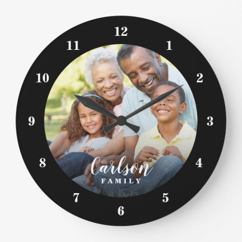 Custom Photo and Family Name Personalized Large Clock