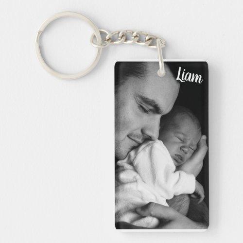 Custom photo and name key chain personalized