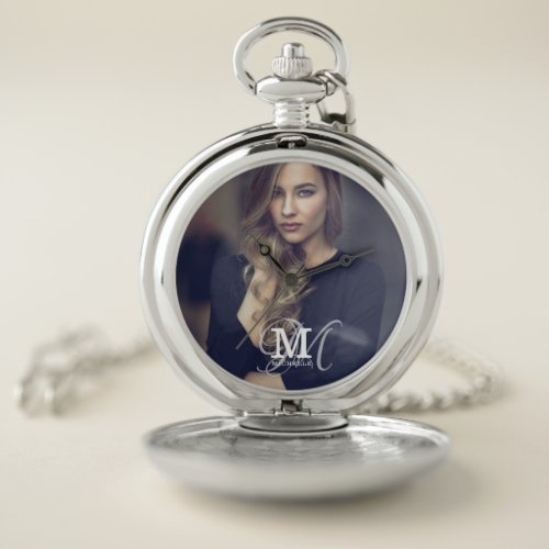 Custom Photo and Name Typography Pocket Watch