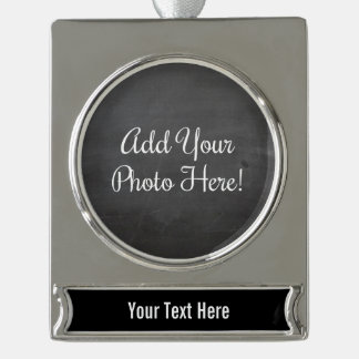 Custom Photo and Text Black Banner Ornament Silver Plated Banner Ornament