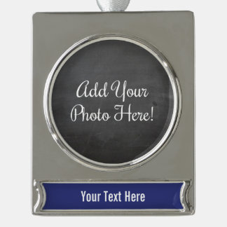 Custom Photo and Text Blue Banner Ornament Silver Plated Banner Ornament