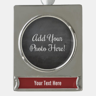 Custom Photo and Text Burgundy Red Banner Ornament Silver Plated Banner Ornament