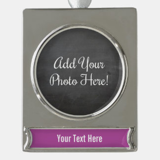 Custom Photo and Text Magenta Banner Ornament Silver Plated Banner Ornament