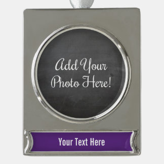 Custom Photo and Text Purple Banner Ornament Silver Plated Banner Ornament