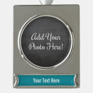 Custom Photo and Text Turquoise Banner Ornament Silver Plated Banner Ornament