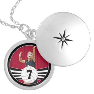 Custom Photo and Text Volleyball Silver Pendant