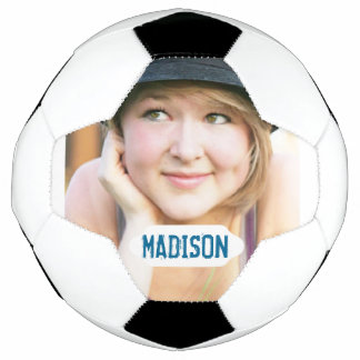 Custom photo and white name plate soccer ball