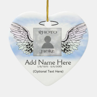 Custom Photo Angel Wings and Heart Memorial Ceramic Ornament
