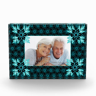 Custom Photo Aqua Teal and Black Flower Pattern Award