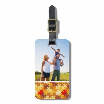 Halloween Themed Custom Photo Autumn colors puzzle background Bag Tag