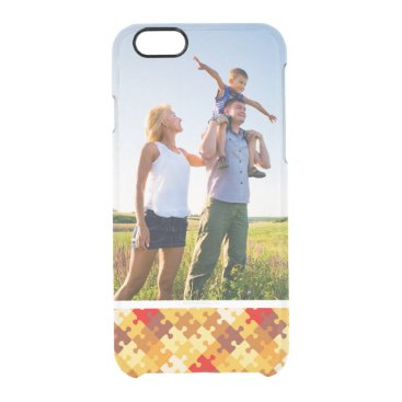 Halloween Themed Custom Photo Autumn colors puzzle background Clear iPhone 6/6S Case