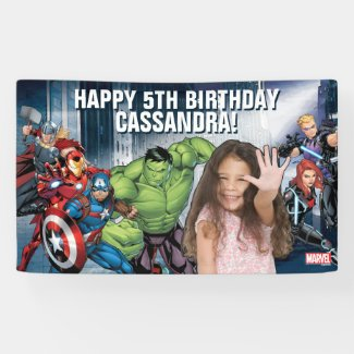 Custom Photo Avengers Birthday Banner
