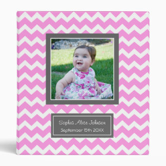 Custom Photo Baby Binder Chevron Pink