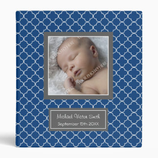 Custom Photo Baby Binder Quatrefoil Blue
