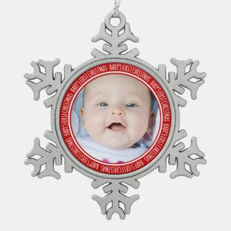 Custom Photo Baby s 1st Christmas Ornament Red