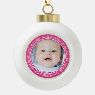 Custom Photo Baby's 1st Christmas Ornament Pink