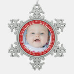 Custom Photo Baby's 1st Christmas Ornament Red