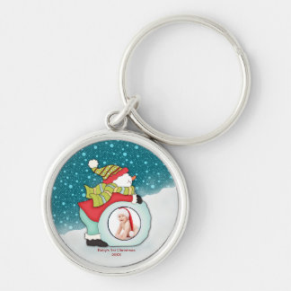 Custom Photo Babys First Christmas Cute Snowman Keychain
