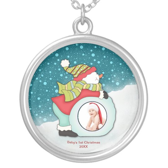 Custom Photo Babys First Christmas Snowman Silver Plated Necklace