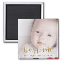 Custom Photo | Baptism Gold Calligraphy Magnet