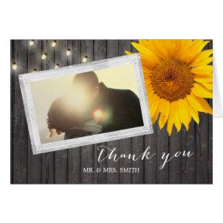 Custom Photo Barn Wood Sunflower Wedding Thank You Card