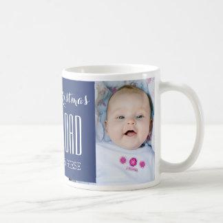Custom Photo Best Dad Christmas Mug Blue