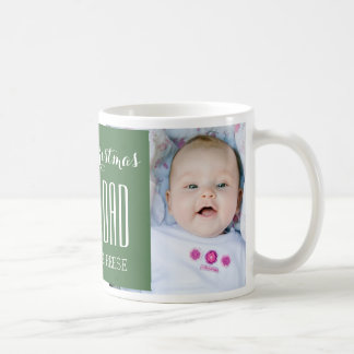 Custom Photo Best Dad Christmas Mug Green