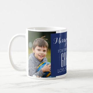 Custom Photo Best Grandma Christmas Mug Blue