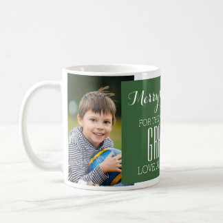 Custom Photo Best Grandpa Christmas Mug Green