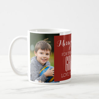 Custom Photo Best Grandpa Christmas Mug Red