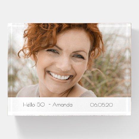 Custom photo birthday hello name age paperweight
