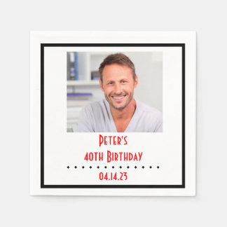 Custom Photo Birthday Paper Napkin
